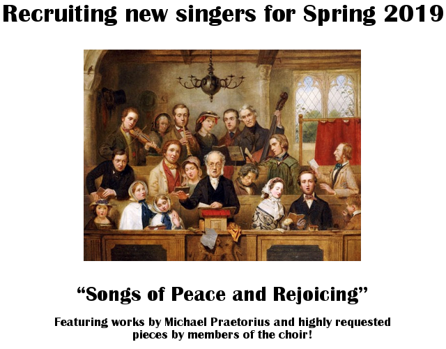 Recruiting singers for Spring 2019